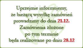 uprzejmie informujemy, że bieżącą wysyłkę zamówień prowadzimy do dnia 21.12. Zamówienia złożone po tym terminie będa realizowane po dniu 28.12