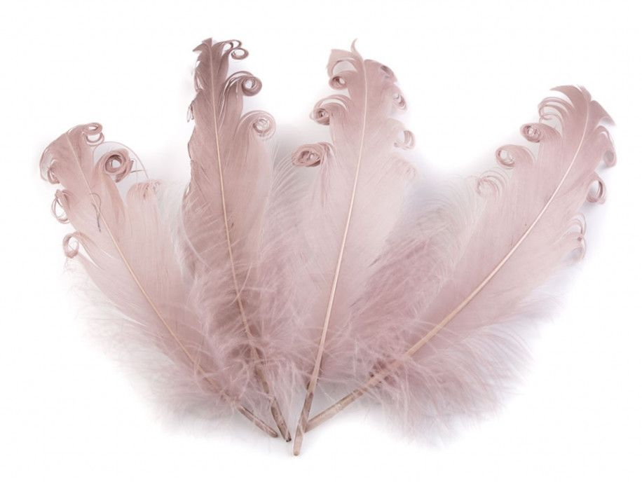 pióra gęsie kręcone 15-18 cm stary róż