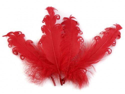pióra gęsie kręcone 15-18 cm czerwone