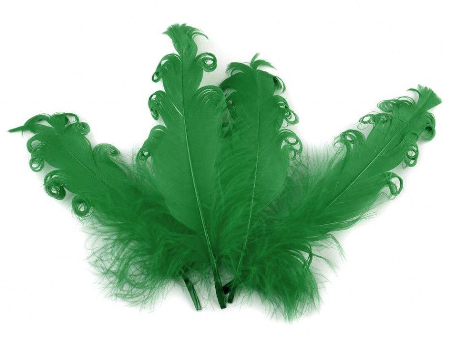 pióra gęsie kręcone 15-18 cm zielone