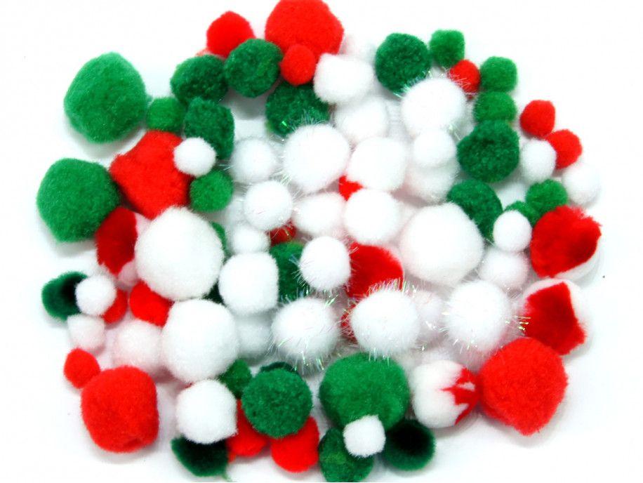 pomponiki mix świąteczny 100 sztuk
