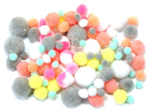 pomponiki mix pastelowy 100 sztuk
