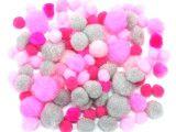 pomponiki mix szaro-różowy 100 sztuk