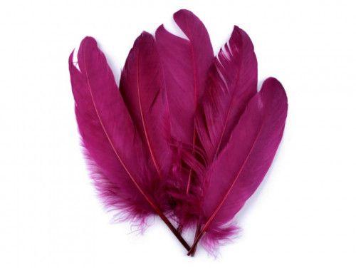 pióra gęsie 15-21 cm. różowofioletowe