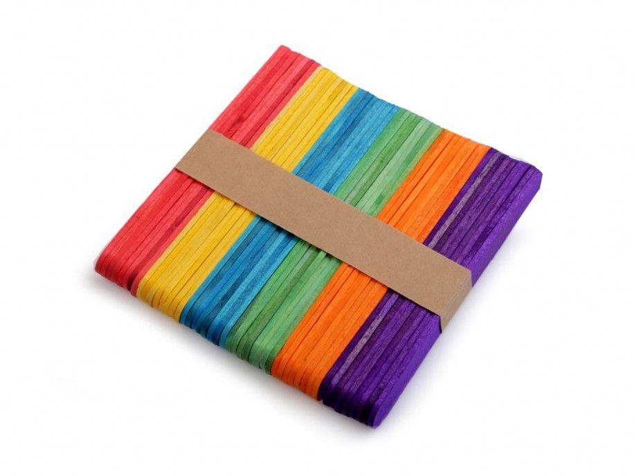 patyczki drewniane kolorowe 50 sztuk