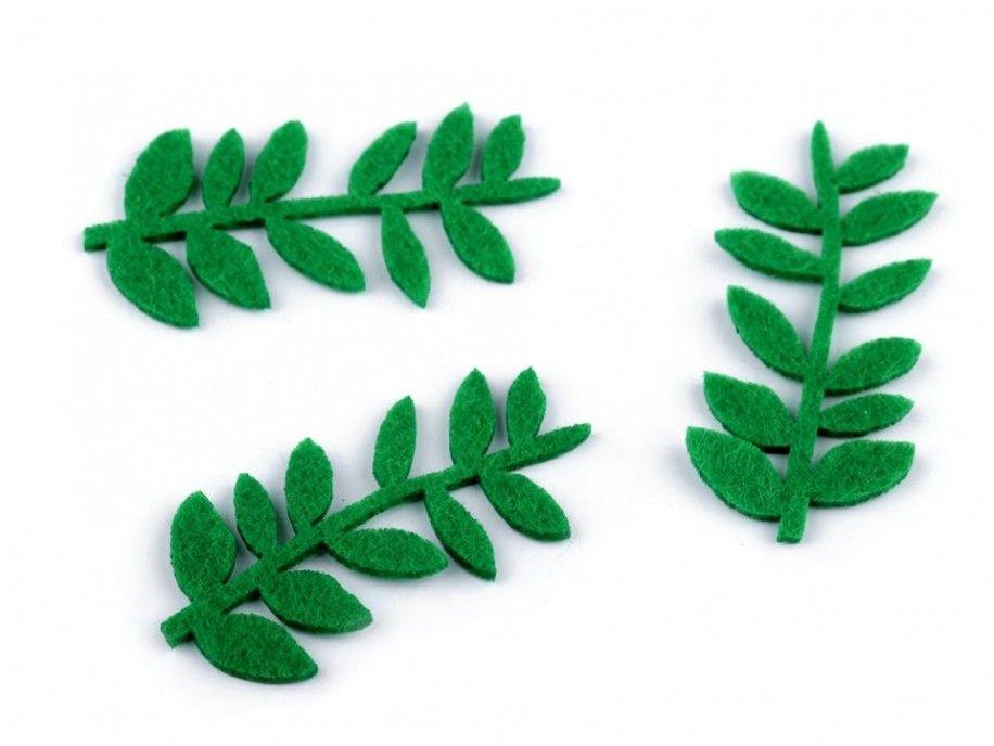 gałązki z filcu zielone 3 sztuki