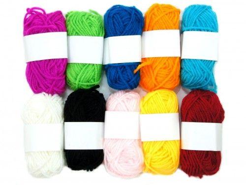 włóczka akryl kolorowa- 10 sztuk