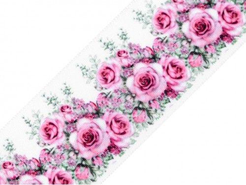 wstążka ozdobna róże 40mm