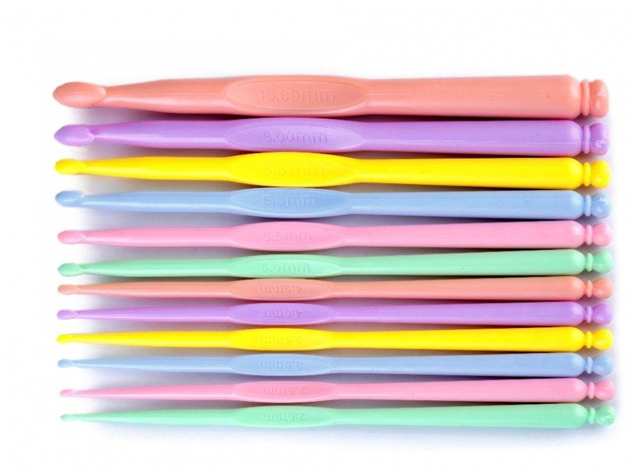 szydełka plastikowe zestaw 12 sztuk
