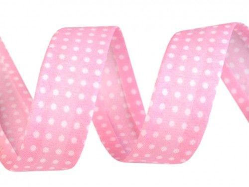 lamówka ozdobna w kropki różowa