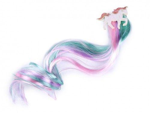 dopinka, pasemka do włosów ze spinką jednorożec