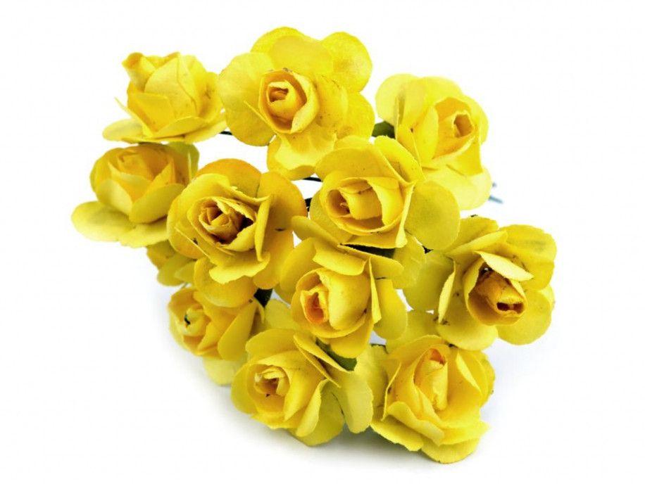 sztuczne róże żółte 12 szt.
