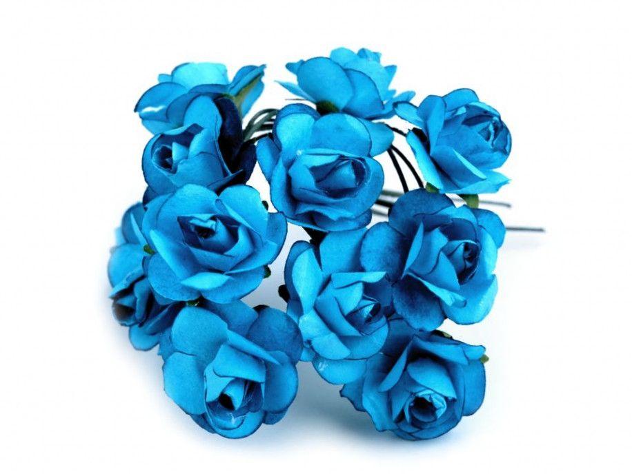 sztuczne róże turkusowe 12 szt.