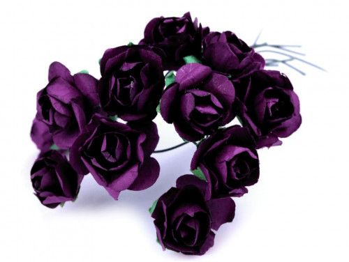 sztuczne róże fioletowe ciemne 12 szt.