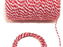 sznurek bawełniany 2 mm biało-czerwony -10m.