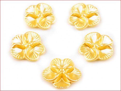 koraliki bratki żółte 2 sztuki