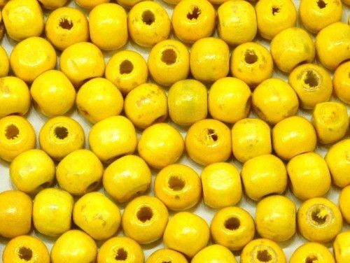 koraliki drewniane 10mm żółte