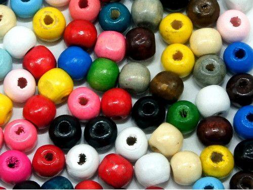 koraliki drewniane 10mm mix kolorów 50g