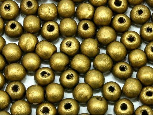 koraliki drewniane 10mm złote