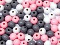 koraliki drewniane 10mm mix różowo-szary -50g