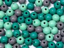 koraliki drewniane 10mm mix zielono/szary -50g