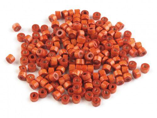 koraliki drewniane rurka pomarańczowa 10g
