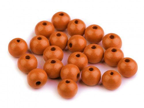 koraliki drewniane 10mm pomarańczowe-50g