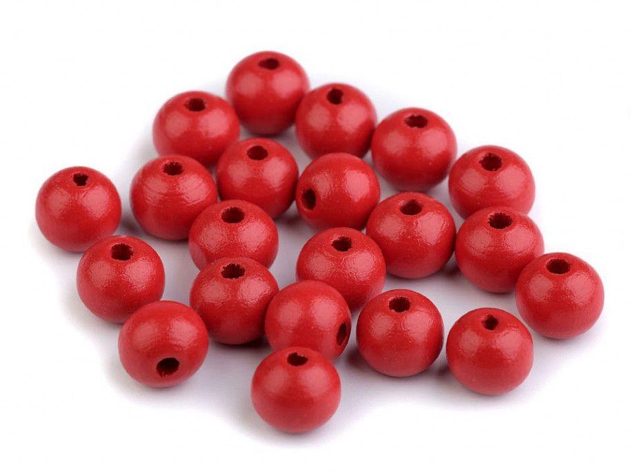 koraliki drewniane 10mm czerwone-50g
