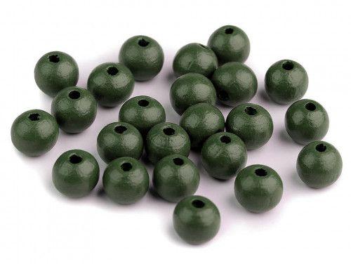 koraliki drewniane 10mm zielone ciemne-50g