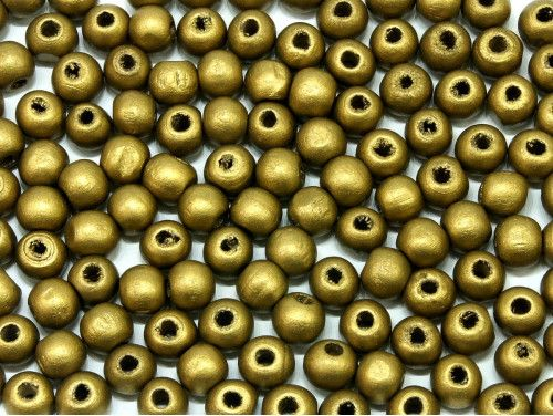 koraliki drewniane 6mm złote
