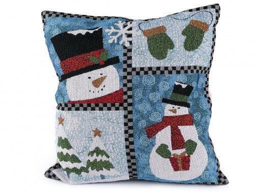 poszewka na poduszkę bałwan niebieska