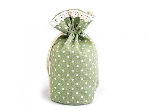woreczek lniany w kropki oliwkowy z koronką