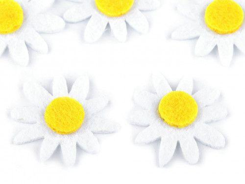 kwiatki z filcu 5szt. białe