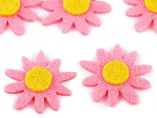 kwiatki z filcu 5szt. różowe