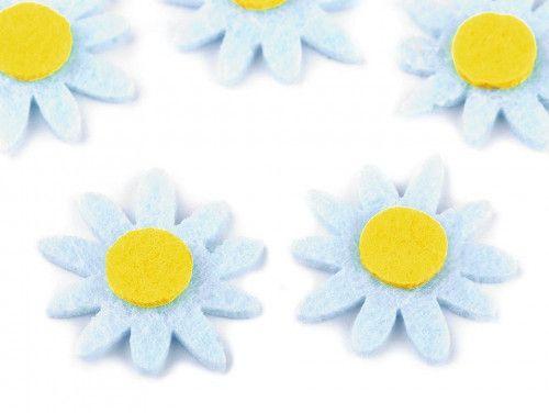 kwiatki z filcu 5szt. niebieskie