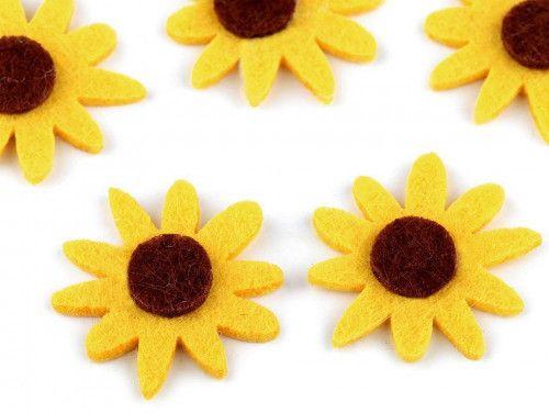 kwiatki z filcu 5szt. żółte