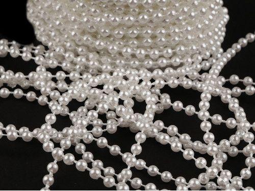 koraliki na sznurku 4mm, białe perłowe