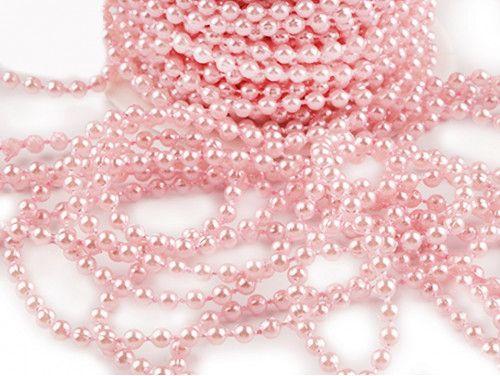 koraliki na sznurku 4mm, różowe