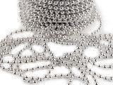 koraliki na sznurku 4mm, srebrne