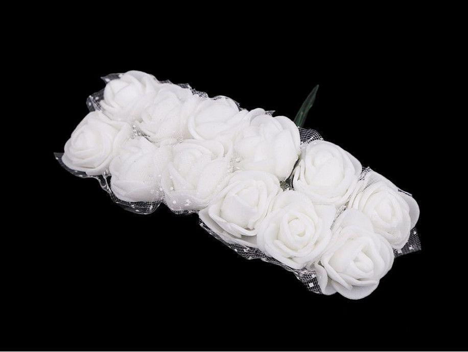 sztuczne róże z tiulem białe 12 szt.