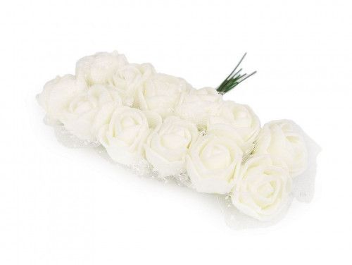 sztuczne róże z tiulem ecru 12 szt.
