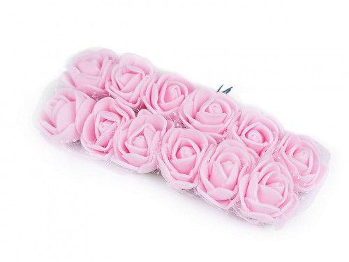 sztuczne róże z tiulem różowe 12 szt.