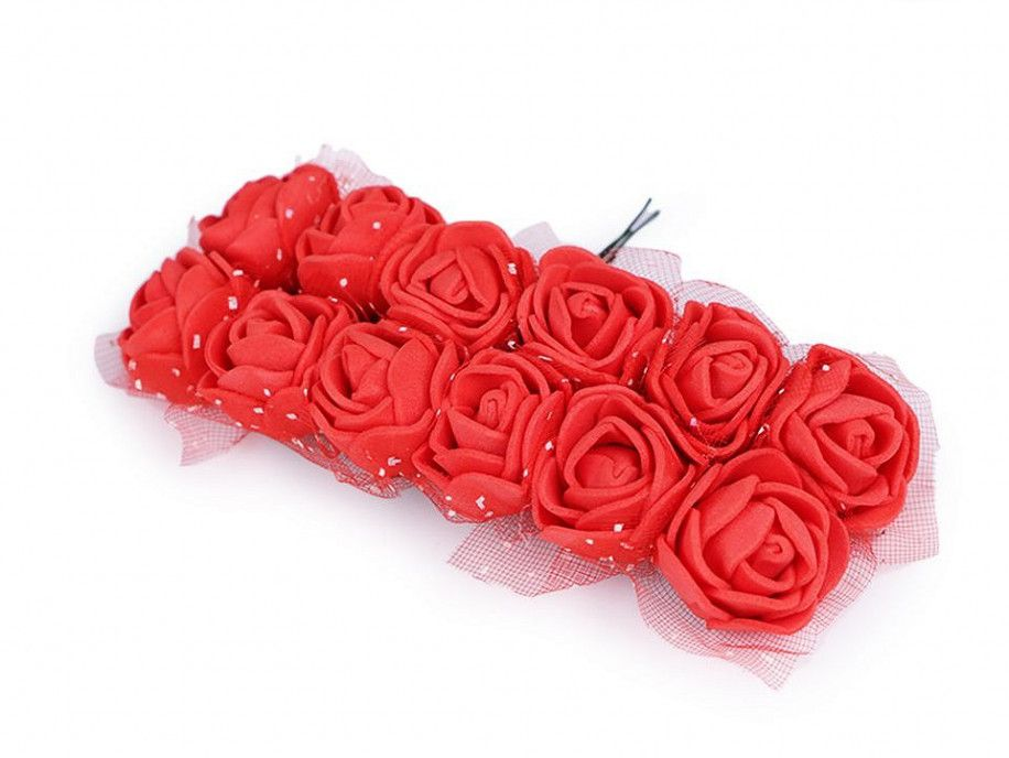 sztuczne róże z tiulem czerwone 12 szt.