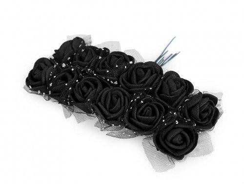 sztuczne róże z tiulem czarne 12 szt.