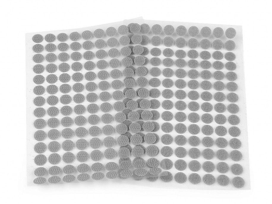 rzep z klejem kółeczka 10 mm szare