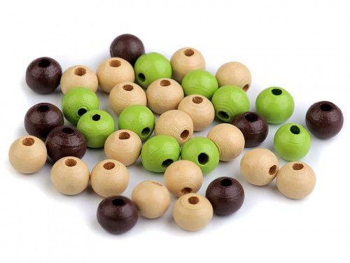 koraliki drewniane 8 mm mix zielono-brązowy -50g