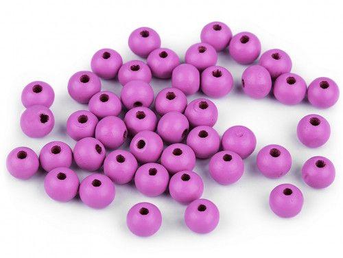 koraliki drewniane 8mm różowofioletowe-50g