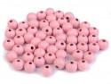 koraliki drewniane 8 mm różowe-50g