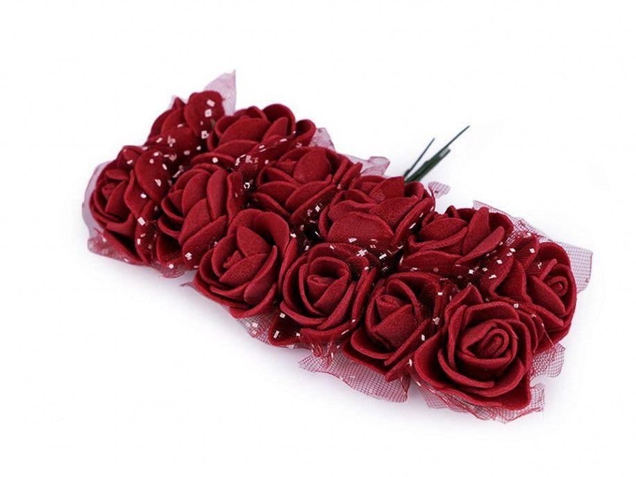 sztuczne róże z tiulem bordowe 12 szt.