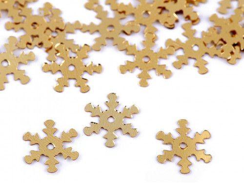cekiny płatki śniegu złote